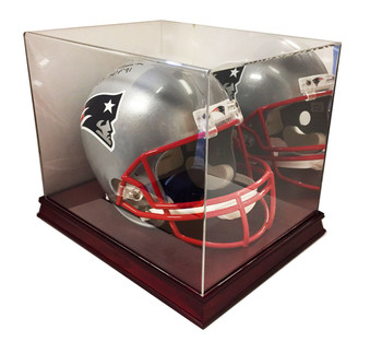 Executive Full Size Football Helmet Display UV Case w/ Mirror - Cherry Wood