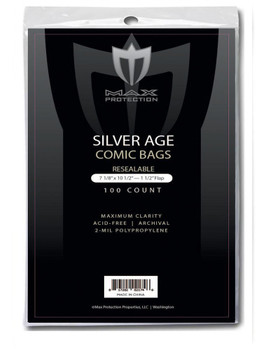 Silver Comic Bags - RESEALABLE - 7-1/8x10-1/2 - 100ct Pack