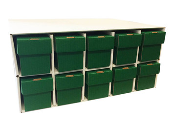 Card Penthouse House Storage Box - with 10 800-Count Green Vertical Storage Boxes