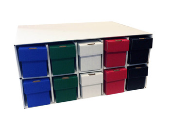Card Penthouse House Storage Box - with 10 800-Count Multi Color Vertical Storage Boxes