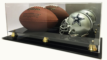 Deluxe Mini NFL Helmet and Full Size Football Acrylic Display Case with Mirror