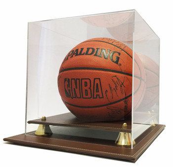 Max Protection Executive Brown Leatherette Basketball Display Case