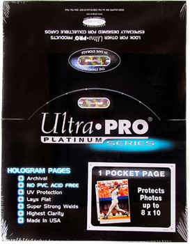 Ultra Pro 1-Pocket Platinum 8x10 Photo Pages - 100ct Box