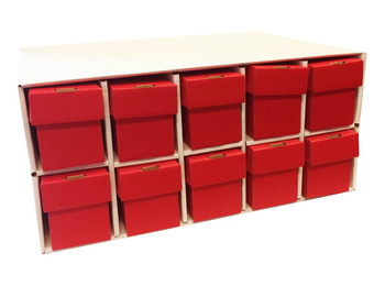 Card Penthouse House Storage Box - with 10 800-Count Red Vertical Storage Boxes