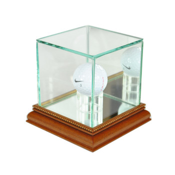 Glass Golf Ball Display Case with Mirror Back - Walnut