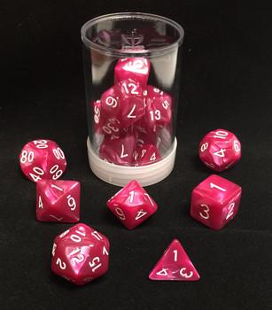 Max Protection Polyhedral 7-Die Pearl Dice Set - Rose Pearl