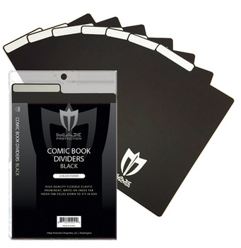 25ct Max Pro Comic Book Dividers - Black - New Design Innovative Flex Fold Tabs