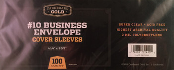 Business Envelope #10 Sleeves - 100ct Pack
