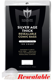 Resealable Silver / Regular Comic Bags - Thick - 7-1/4x10-1/2 - 100ct Packs