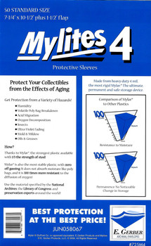 "4 Mil Standard Comic Mylar 7-1/4""x10-1/2"" - Mylites 4 - 50ct Pack"