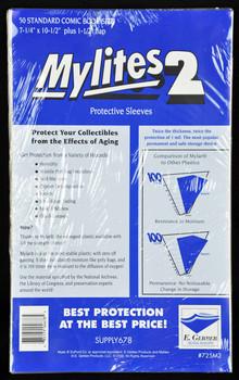 "2 Mil Standard Comic Mylar 7-1/4""x10-1/2"" - Mylites 2 - 50ct Pack"