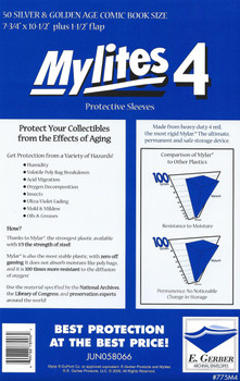 "4 Mil Silver / Gold Comic Mylar 7-3/4""x10-1/2"" - Mylites 4 - 50ct Pack"