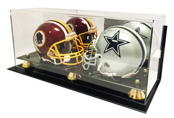 Deluxe Acrylic Double Mini Helmet Display Case - Wall Mount