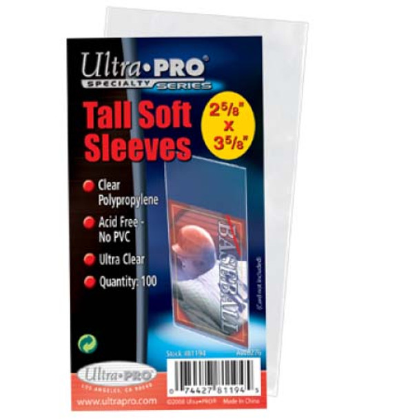 Tall Card Soft Sleeves - 100ct Pack