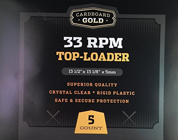 Cardboard Gold 33RPM Record Toploaders - 5ct Pack