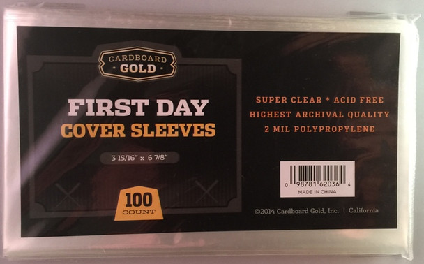First Day Cover Sleeves - 100ct Pack