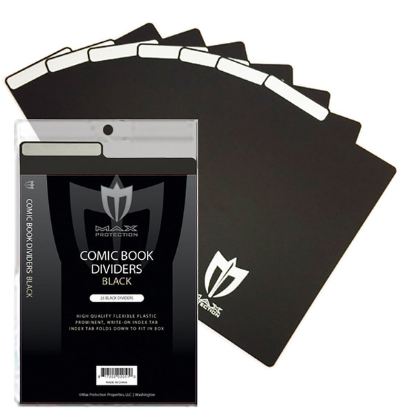 25ct Max Pro Comic Book Dividers - Black - New Design Innovative Flex Fold Tabs