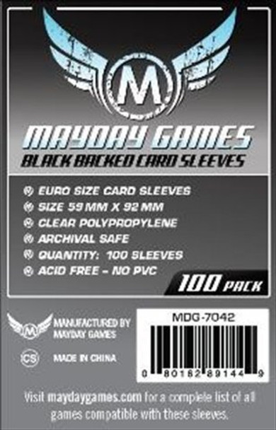Mayday Games Euro Card Sleeves Black Backed - 59mm x 92mm - 100ct Pack