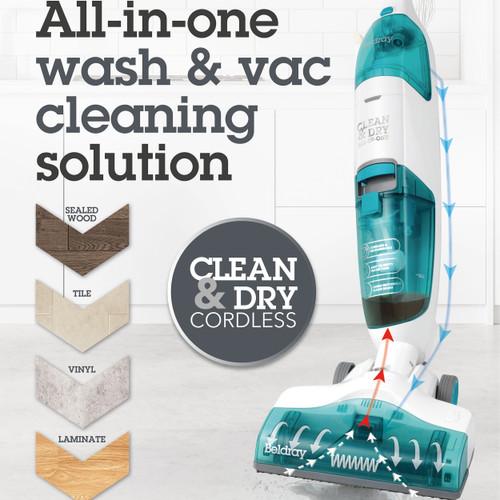 Beldray Clean & Dry Cordless Hard Floor Vacuum Cleaner with Swivel Head