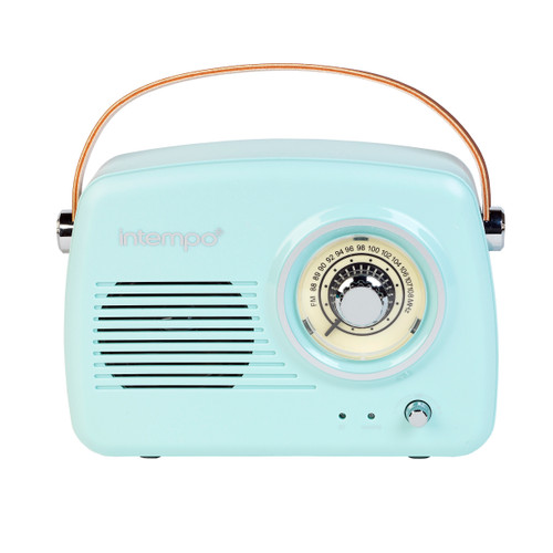 Intempo Bluetooth Speaker with FM Radio and Leather Carry Strap, Blue