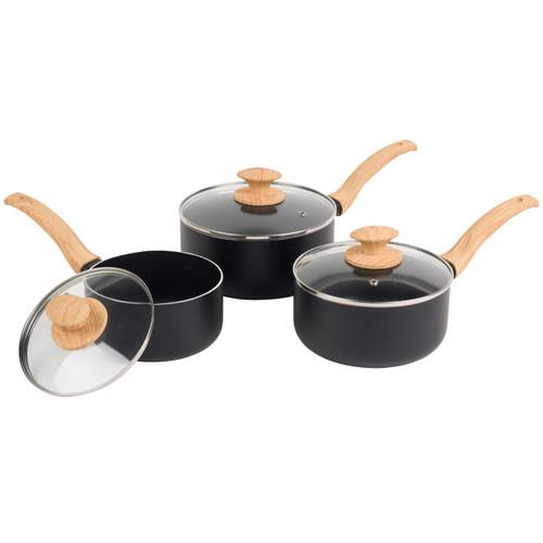 Progress® Scandi Smartstone Non Stick Saucepan Set with Lids 3-Piece