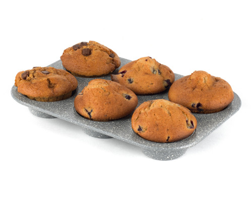 Salter Marble Collection Carbon Steel 6 Cup Muffin Baking Pan, 27 cm