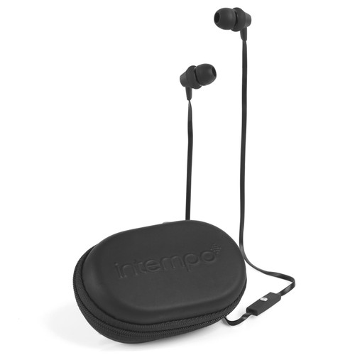 Intempo Travel Earphones with Carry Case Black