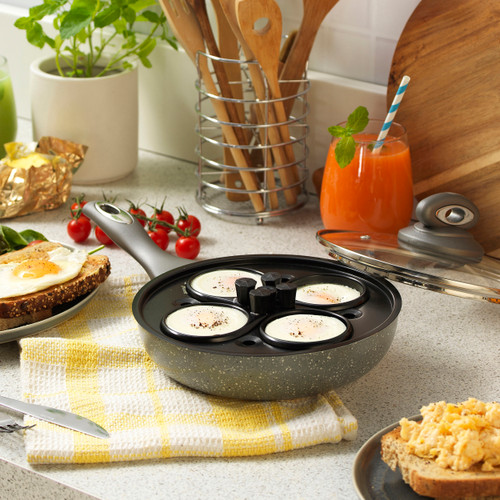 Salter Marble Collection 4 Cup Egg Poaching Pan, Grey