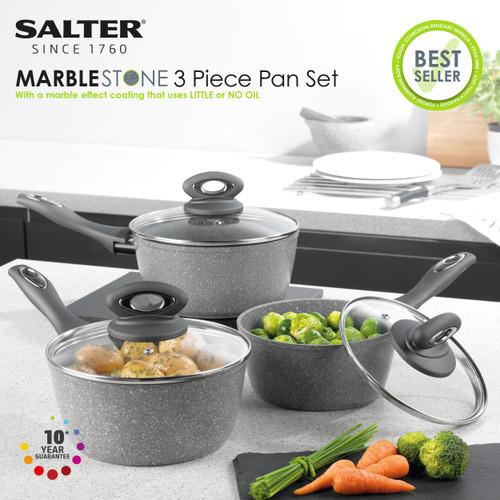 Salter Marble Collection 3 Piece Saucepan Set, 16/18/20 cm, Grey