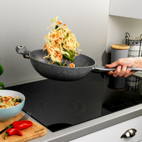 Salter Marble Collection Forged Aluminium Wok, 28 cm, Grey