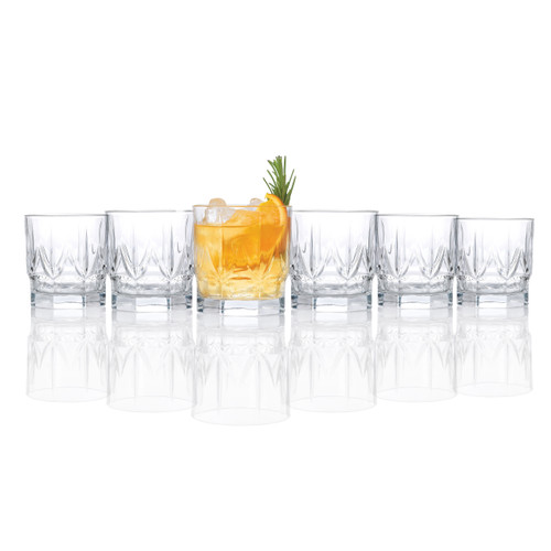 RCR Chic Luxion Crystal Whisky Tumbler Glasses, 350 ml, Set of 6