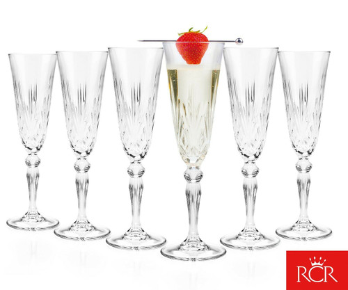 RCR Melodia Crystal Champagne Flutes, 160 ml, Set of 6