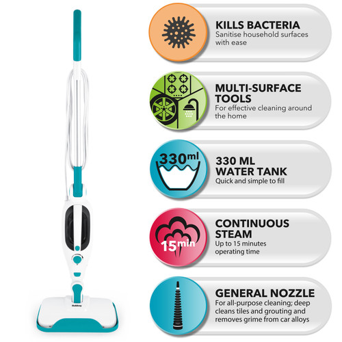 Beldray® 12 in 1 Flexi Steam Cleaner Accessories Included