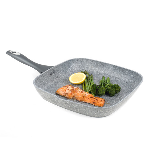 Salter Forged Aluminium Griddle Pan, Marble Collection, 28 cm, Grey