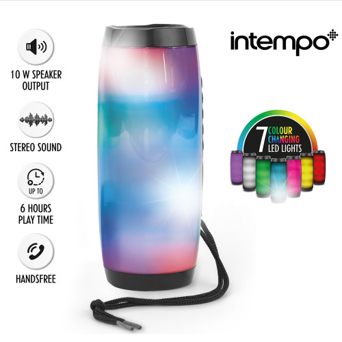 Intempo Rechargeable Bluetooth LED Light up Speaker, Black