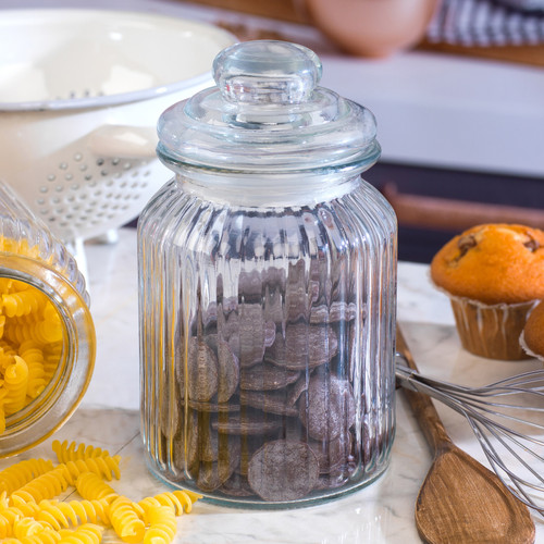 Giles & Posner Small Ribbed Glass Candy Jar