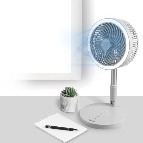 Beldray® Grey 3 in 1 Cordless Foldable Fan with LED Ring Light