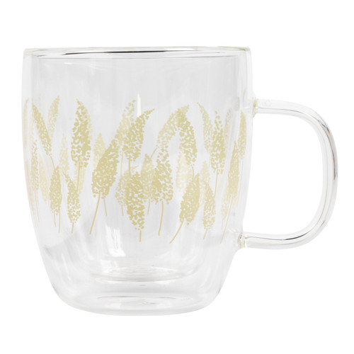 Cambridge® Feather Grass Borosilicate Double Walled Glass Mug, 350 ml