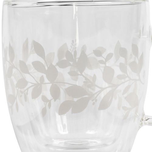 Cambridge® Laurel Borosilicate Double Walled Glass Mug, 350 ml