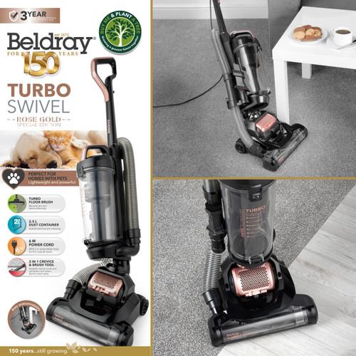 Beldray® Turbo Swivel Vacuum Cleaner, 2.5 L, Rose Gold