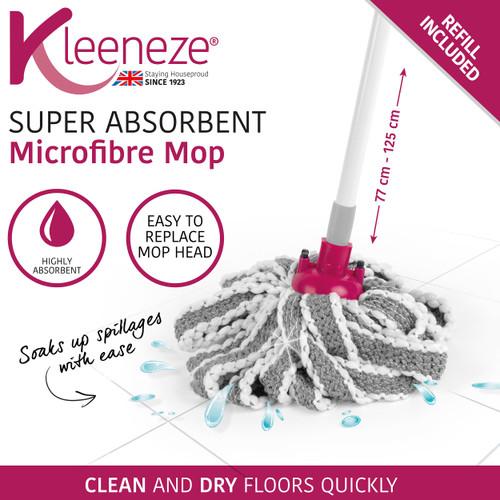 Kleeneze® Super Absorbent Microfibre Mop | Extendable Handle