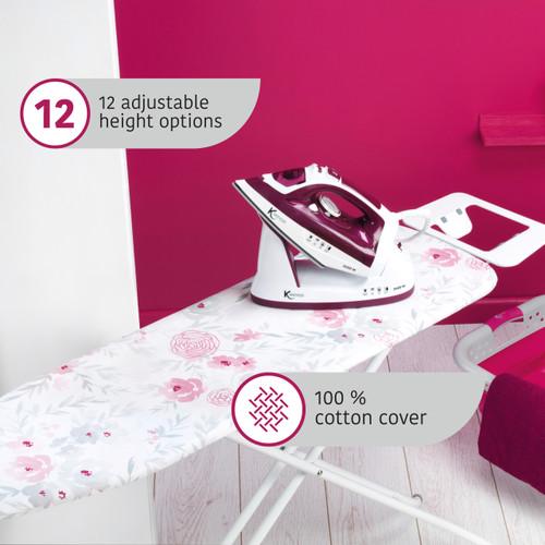 Kleeneze Foldable Ironing Board, 114 x 34 cm | Floral Design