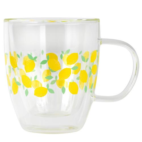 Cambridge® Borosilicate Double Walled Glass Mug, Ditsy Lemons, 300 ml