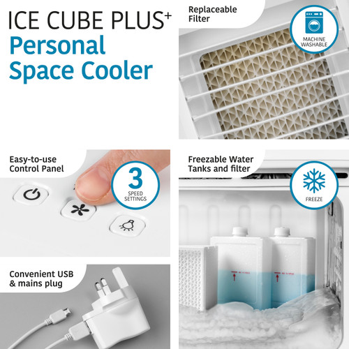 Kleeneze® Portable Air Cooler with LED Lights, 3 Speeds | White