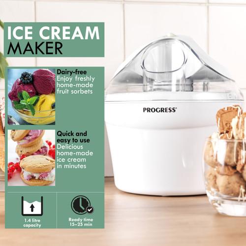 Progress®1.4L Ice Cream Maker Machine | Sorbet Gelato Frozen Yoghurt