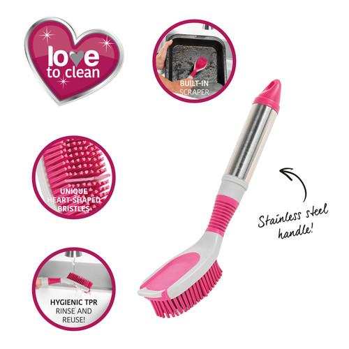 Kleeneze® Heart Rubber Head Oval Dish Brush
