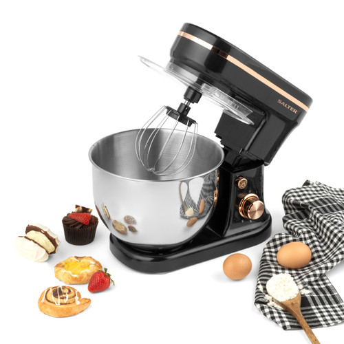 Salter Stand Mixer with 6 Speed Settings, Black/Rose Gold