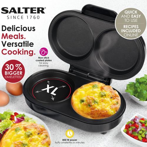 Salter® XL Twin Dual Fill Non-Stick Omelette Maker 0.8L   Black