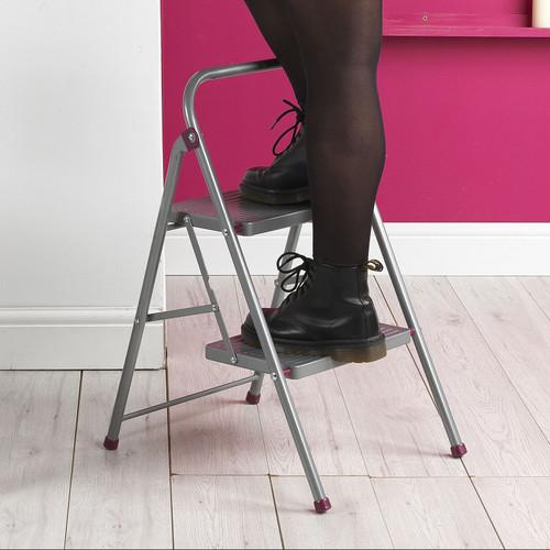 Kleeneze 2-Step Folding DIY Stepladder, 80cm  Pink/Grey