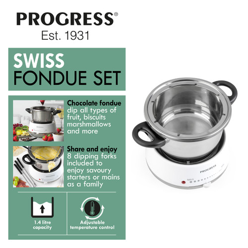 Progress® 1,4 L Swiss Fondue Set with 8 Dipping Forks  | White
